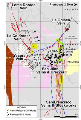 Figure 1: Yecora Vein Drill Hole Location Map – New Mineralized Structure in the San Juan Area (CNW Group/GR Silver Mining Ltd.)