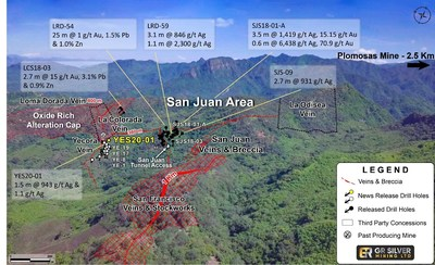 Figure 2: Drone Image of the San Juan Area (looking to the NW) (CNW Group/GR Silver Mining Ltd.)