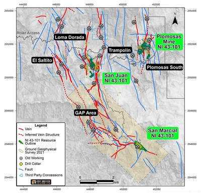 Figure 1 – Resource Estimation Areas – Plomosas Mine and San Juan Areas(1) (1) New Au-Ag targets of the ongoing Drill Program are shown in black (CNW Group/GR Silver Mining Ltd.)