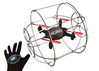 KD Interactive introduces Aura, a gesture-controlled drone that uses patented Gesturebotics(TM) technology powered by Locorobo. Using a wearable glove controller, kids can pilot the robot using hand motion wearing the glove. Aura can roll, climb walls and fly around the room.