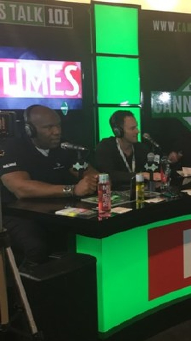 Marvin Washington and BudTrader CEO Brad McLaughlin on HighTimes radio. Photo courtesy of BudTrader.com.