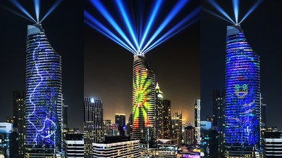 Beautiful Bangkok', Thailand's first world-class high-rise 3D projection mapping show, bringing a magical year-end to Ratchaprasong Square