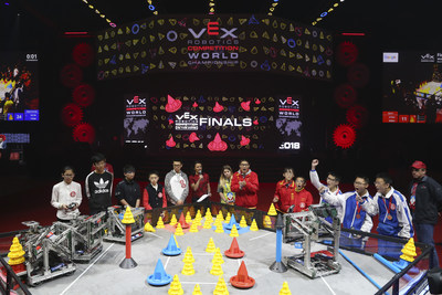 Teams compete in the VEX Robotics Competition Middle School finals at the VEX Worlds 2018.