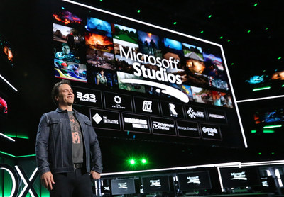 Phil Spencer, Head of Gaming at Microsoft, onstage at Xbox E3 2018 Briefing where Microsoft added five more creative teams to the Microsoft Studios family on Sunday, June 10, 2018 in Los Angeles. (Photo by Casey Rodgers/Invision for Microsoft/AP Images)