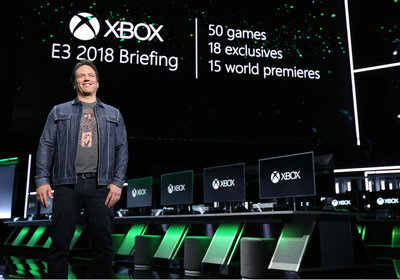 Phil Spencer, Head of Gaming at Microsoft, onstage at Xbox E3 2018 Briefing where Microsoft showcased more than 50 games, including 18 exclusives and 15 world premieres at Microsoft Theater on Sunday, June 10, 2018 in Los Angeles. (Photo by Casey Rodgers/Invision for Microsoft/AP Images)
