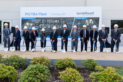 LyondellBasell team members along with Harris County and industry leaders officially break ground on the world's largest PO/TBA plant.   Groundbreaking crew in front of backdrop and sand pit L-R: (Mike VanDerSnick, Jean Gadbois, Stephen Goff, Hector Rivero, Kim Foley, Judge Ed Emmett, Bob Patel, Commissioner Jack Morman, Dale Friedrichs, Pat Ficara, Dan Coombs, Jim Guilfoyle)