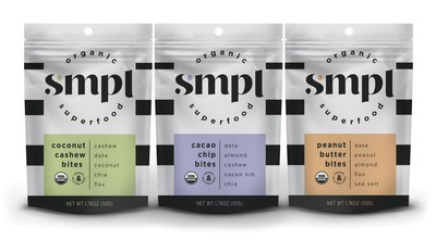 SMPL launches a line of Organic Superfood Bites in three flavors: Coconut Cashew, Cacao Chip and Peanut Butter.