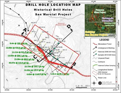 Figure 1: Drill Hole Location Map San Marcial Project (CNW Group/Goldplay Exploration Ltd)