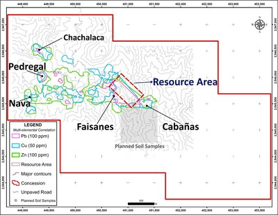Figure 1 San Marcial Project – New Targets: Soil anomalies (CNW Group/Goldplay Exploration Ltd)