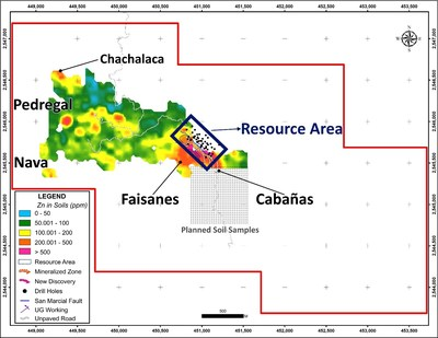 Figure 2 San Marcial Project – New Targets: Zinc in soil anomalies (CNW Group/Goldplay Exploration Ltd)