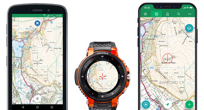 Casio Pro Trek Smart and ViewRanger app determine routes near user GPS location