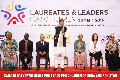 Kailash Satyarthi urges for Peace for Children of India and Pakistan (PRNewsfoto/Kailash Satyarthi)