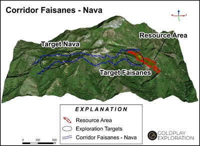 Figure 2 Location of the Faisanes-Nava Trend and San Marcial Resource Area (CNW Group/Goldplay Exploration Ltd)