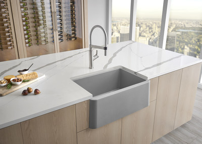 a masterpiece for smaller kitchens blanco expands the ikon farmhouse sink collection with a 27 single bowl apron