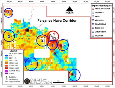 Figure 4- Location Exploration Targets in the San Marcial Project (CNW Group/Goldplay Exploration Ltd)