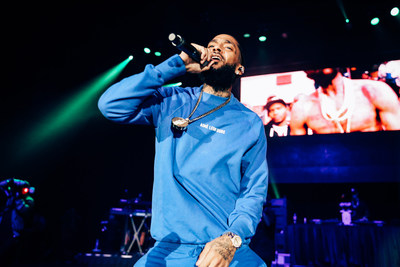 The late Nipsey Hussle during his headlining performance at the first annual Welcome To The West Music Festival in 2018. A tribute is planned for this year's second annual music festival in Ontario, CA on September 20, 2019. Tickets available June 7, 2019 at https://thewestfestival.com. Photo credit: Cabana Life Concerts.