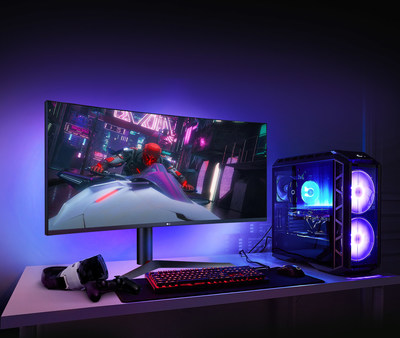 The 38GL950G is set to increase gamers' sense of immersion with its 21:9 aspect ratio, curved screen, virtually borderless design and the upgraded Sphere Lighting 2.0.