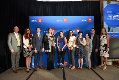 "Neil Blanchard, BMO Financial Group; Samra Zafar, BMO Financial Group; Rob Kennedy, BMO Financial Group; Dorothy Borovich – Community & Charitable Giving Honouree; Miranda Tawfik – Expansion & Growth in Business Honouree; Sherri Tawfik – Expansion & Growth in Business Honouree; Amy Leask –Trailblazers & Innovators Honouree; Mary Danielle Gillies,  BMO Financial Group; Xuexi ""Joe"" Zhou, BMO Financial Group; Julie Barker-Merz, BMO Financial Group. (CNW Group/BMO Financial Group)"