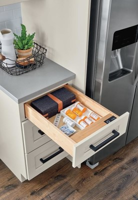 Biometric Secured Drawer from Diamond Cabinets keeps items safe with advanced fingerprint technology.