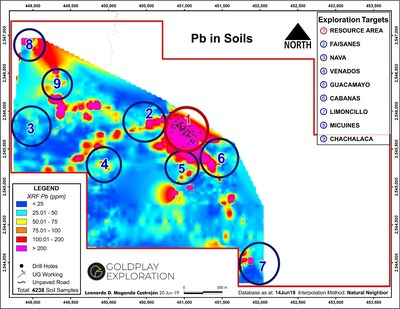 Figure 5 San Marcial Targets Including Nava and Chachalaca – Pb in Soil Geochemistry (CNW Group/Goldplay Exploration Ltd)