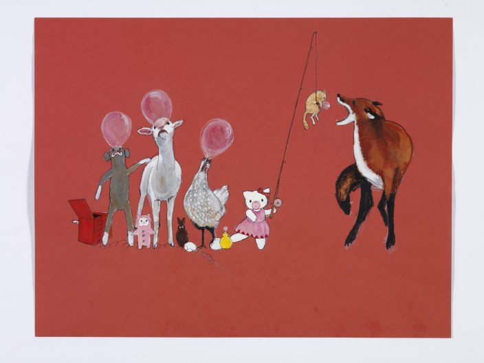 1. Julie Buffalohead (b. 1972, Minneapolis, MN) Bubble Gum Clique, 2010 Acrylic, ink, and graphite on paper 19 1/2 x 25 ½ inches Collection of Virginia Randolph Bueide, Bloomington, Minnesota