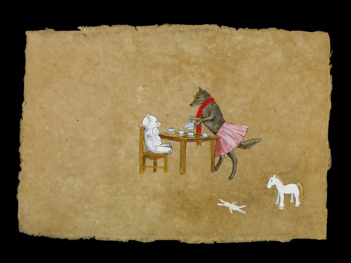 1. Julie Buffalohead (b. 1972, Minneapolis, MN) Tea Party Day Three, 2008 Acrylic, ink, and graphite on lokta paper 20 x 30 inches Courtesy of Bockley Gallery