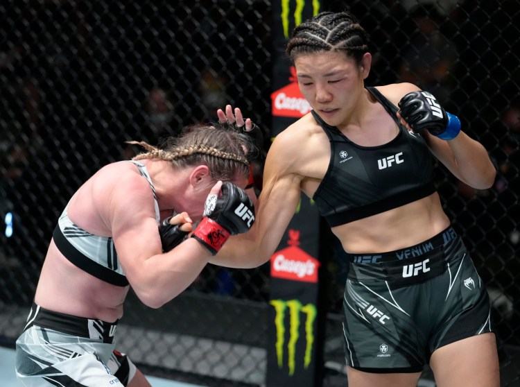 """Rather than use benefit from her 10"""" reach advantage, Kim fought McCann's preferred battle in the pocket   MAFB: UFC Fight Night 191"""