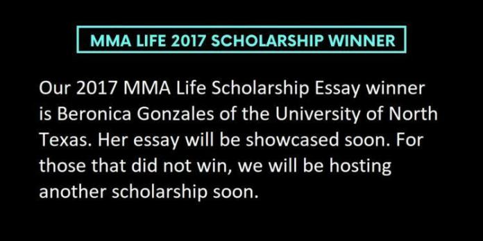 MMA Life 2017 Scholarship Winner