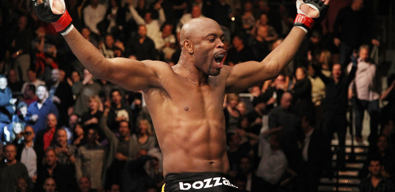 Anderson Silva celebrates after his famous UFC 126 victory.
