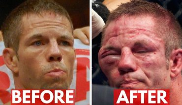 UFC fighters post fight.