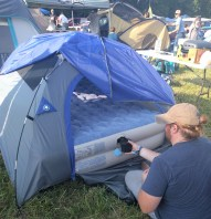 This queen-sized air mattress was a tight squeeze into the small tent.