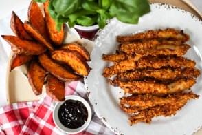 Pieczone stripsy z piersi kurczaka