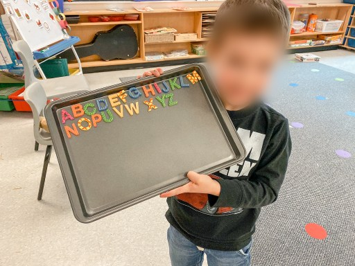 Here is an example of a student who wrote out the alphabet using magnetic letters.