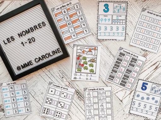Various French counting activities - counting with 10-frames, number activity sheets (find the number, draw it, tally marks, 10-frames, trace the number, write the number), write the missing number, find and colour, count and write, tally, dice, finger counting