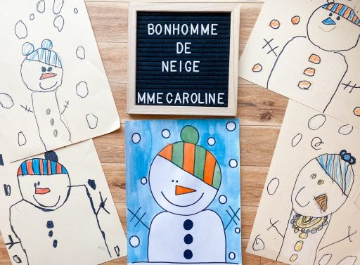 Snowman directed drawing after drawing, tracing and colouring