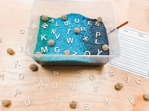 French letter sensory bin activity.