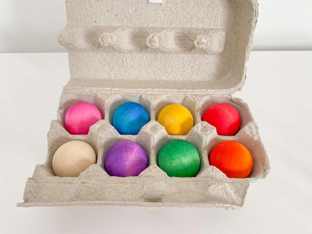 Dyed wooden balls using liquid watercolour