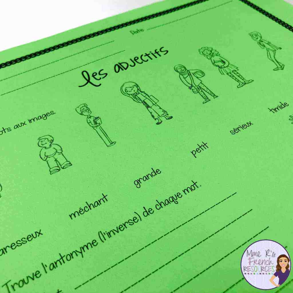 French-adjective-worksheets