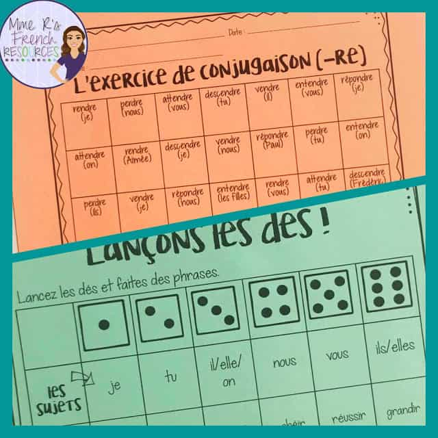 Verb drills and games for French -ir and -re verbs