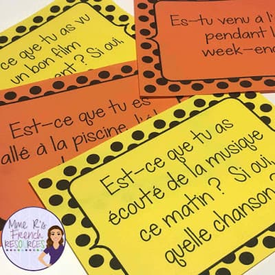 French passé composé speaking task cards