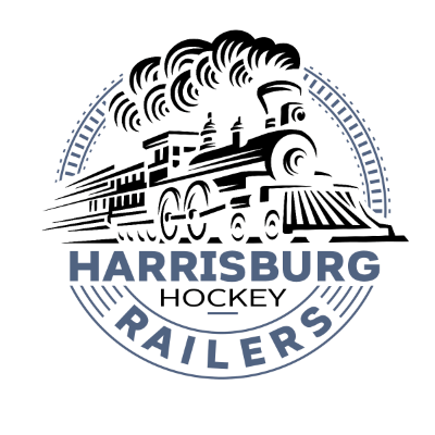 hockey team logo, locomotive and Harrisburg Hockey Railers