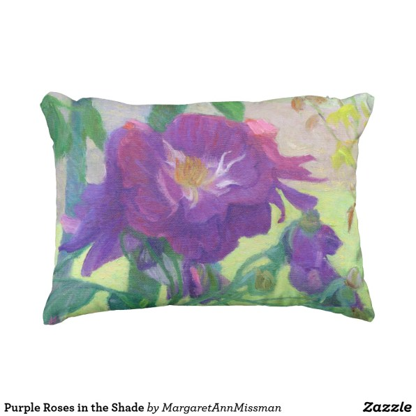 Purple Roses on outdoor pillow
