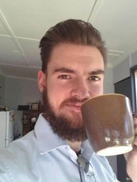 Custom mug in use - Photo by OB