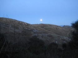 Full moon!! It was pretty cold in camp that night although we played several rounds of the dice game Five Thousand. Carlos and I got sick of John beating us, so we all decided to go hiking.