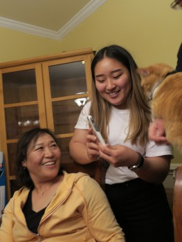 vidjo-chatting with gramma in Korea, essential personnel (Binky), obviously included