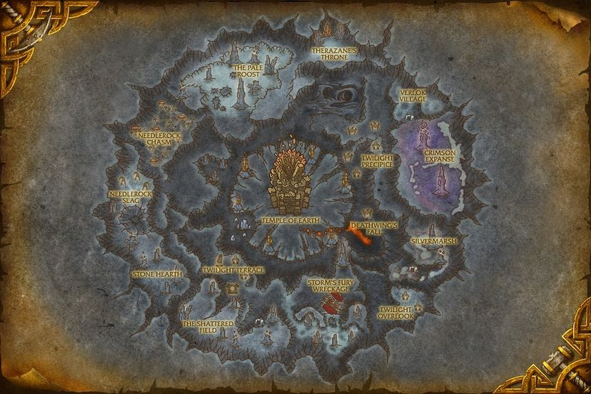Crumbling Depths Deepholm Map World Of Warcraft Cataclysm