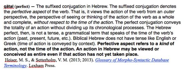 perfective aspect in Exodus 10:1