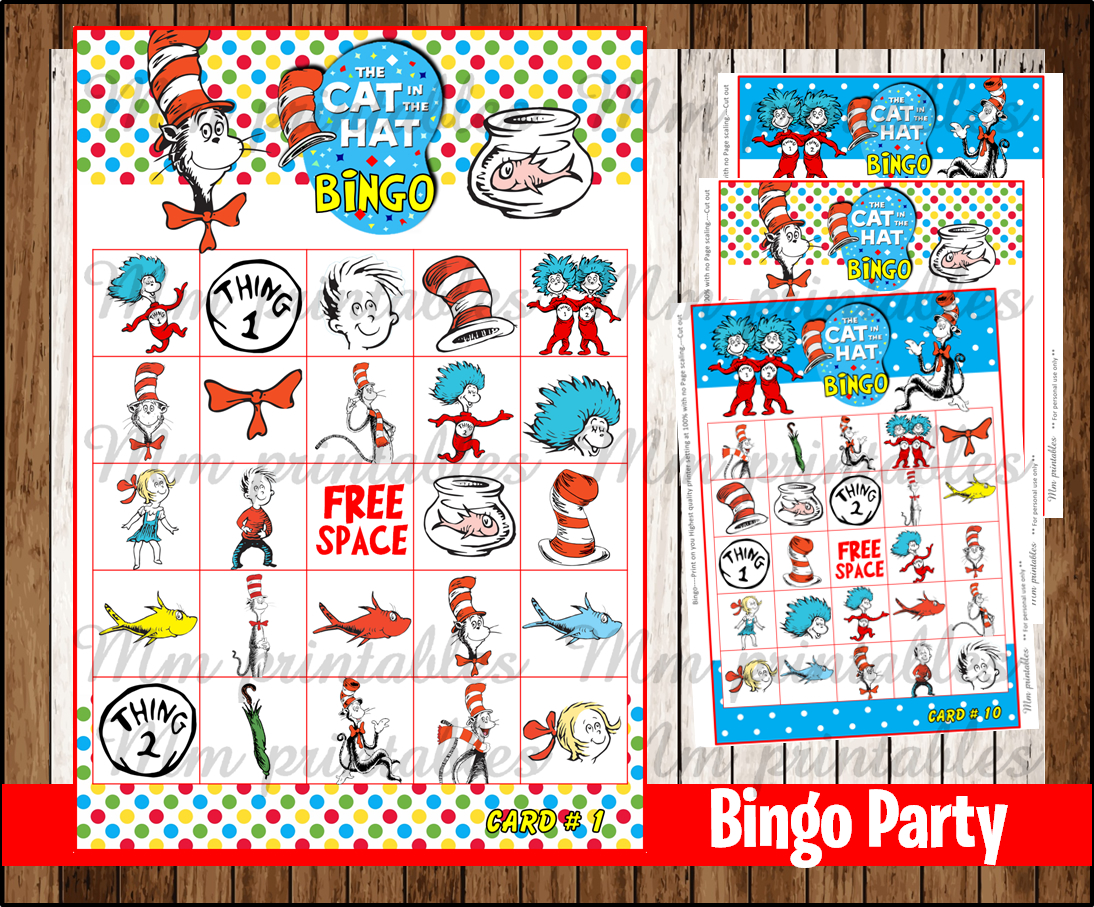 80 Off Sale Cat In The Hat Bingo Party Instant Download
