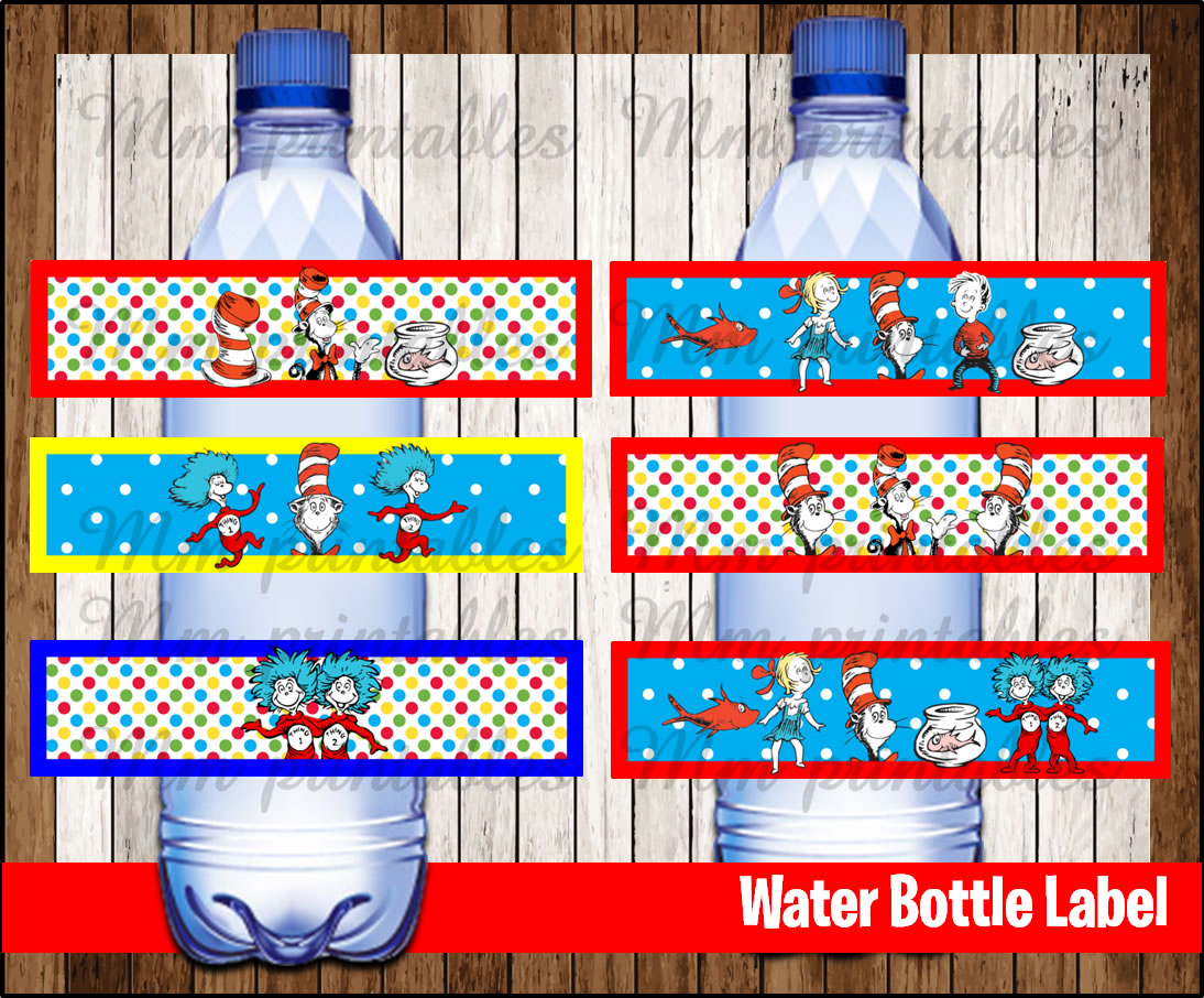 80 Off Sale Cat In The Hat Water Bottle Label Instant