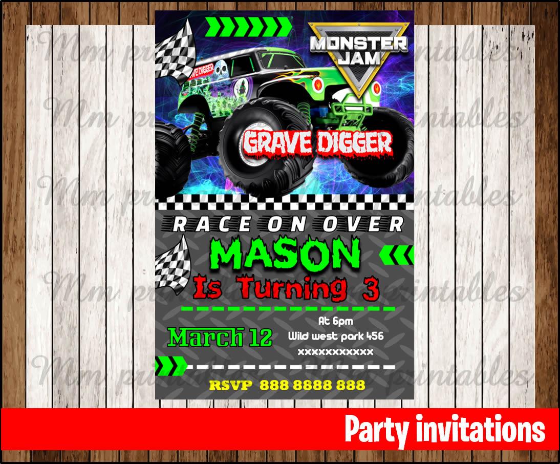 printable monster jam invitation